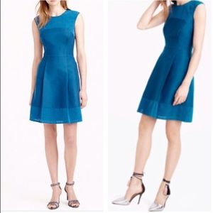 J. Crew peacock blue perforated A line dress